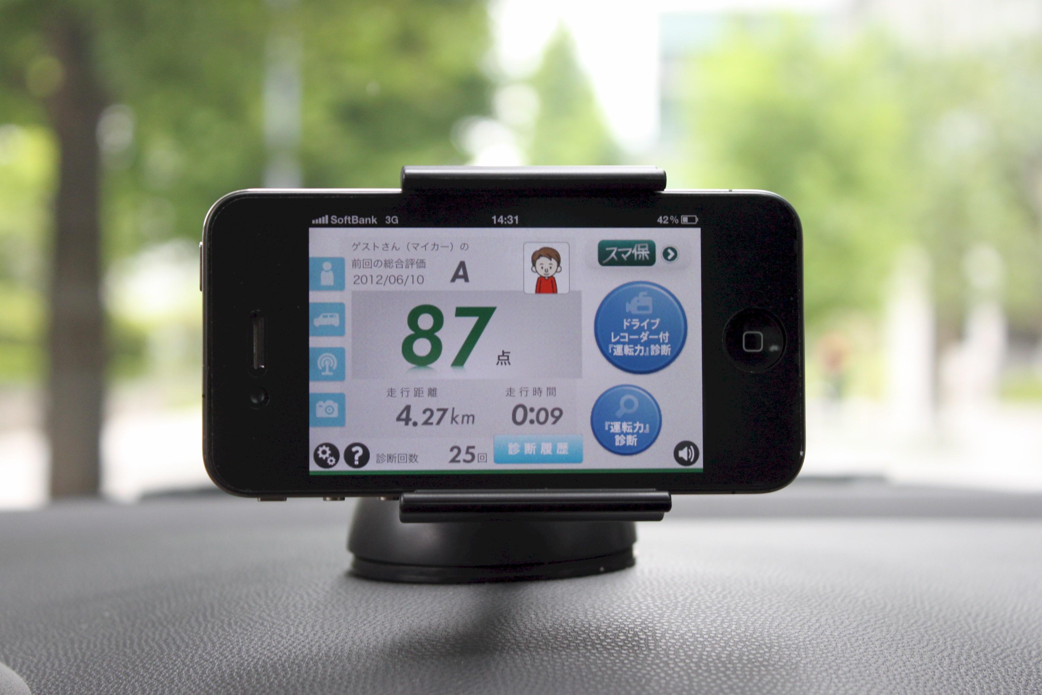 ドライブレコーダー機能の付いたスマホ・アプリ「スマ保」で運転力診断