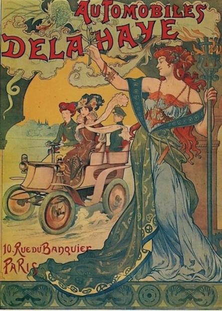 1899仏デラヘイのポスターは、嬉々として丸型ステアリングホイールを回す女性を描いています。右側通行ですが、運転席は右です。