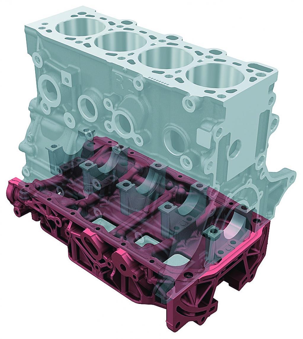 シリンダーブロック下部に高剛性のロワーブロックを締めつける方法。ロワーブロックを超硬アルミ化することで大幅な軽量化を実現しているが、静粛性に対しても大きく貢献している。