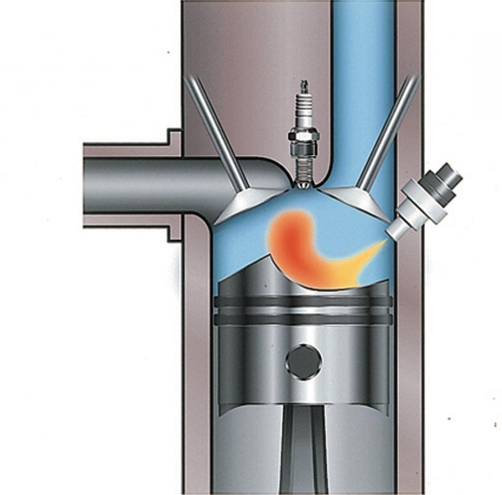 GDIの概念図。ピストン冠面はボウル形状としてあり、直立した吸気ポートからの吸入新気と直接噴射した燃料がそこで渦を巻く、つまりタンブルを形成するような構造としていた。噴射圧力は5MPa。(FIGURE:MITSUBISHI MOTORS)
