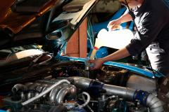 D1車両のエンジンオイル交換