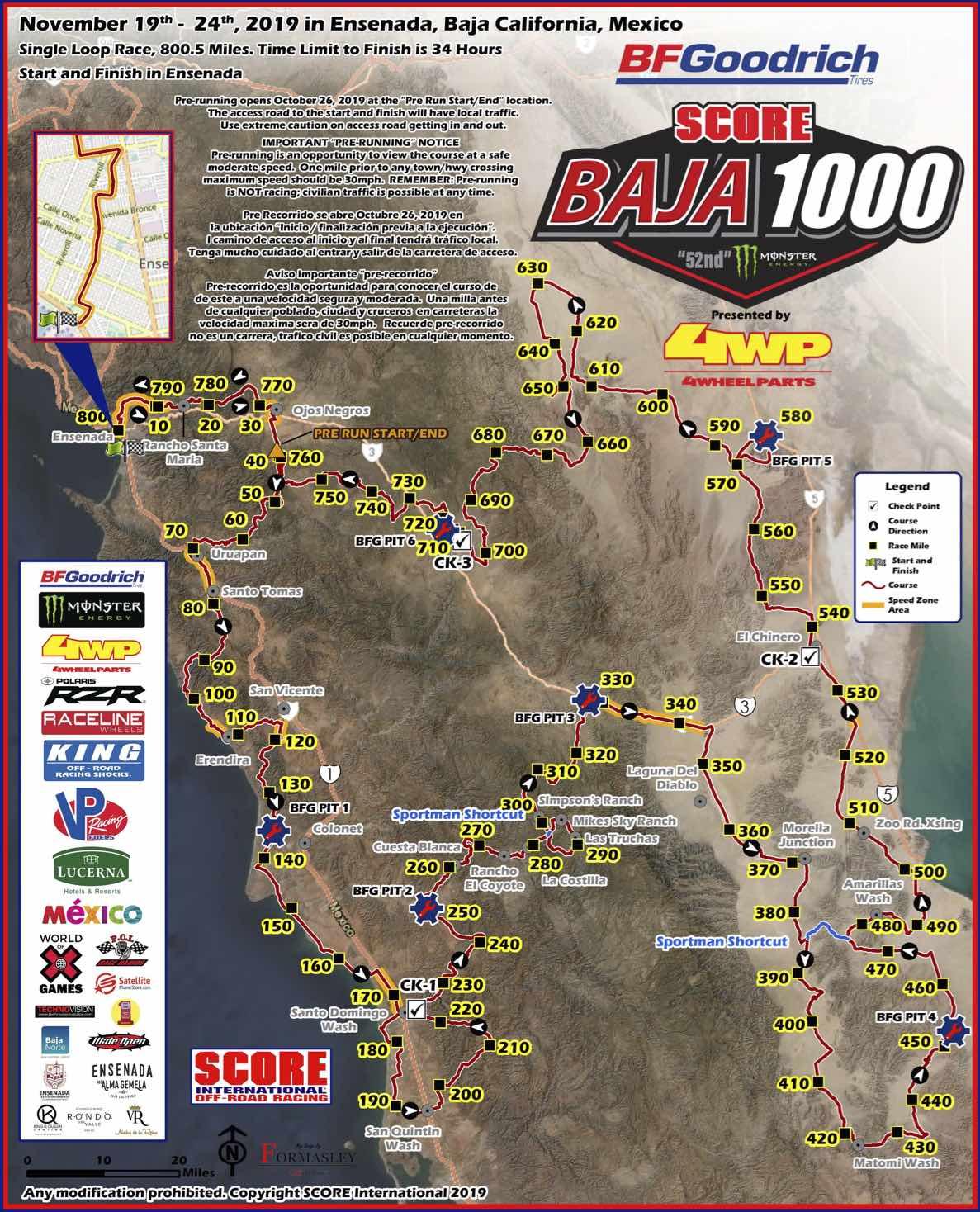 2019年のBaja1000全コース距離は799.1マイル(1286km)で競われた