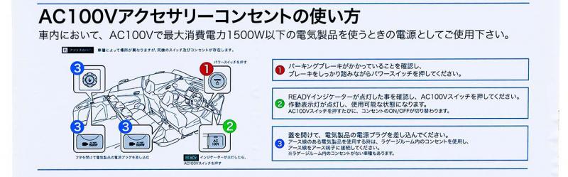 AC100Vアクセサリーコンセントの使い方