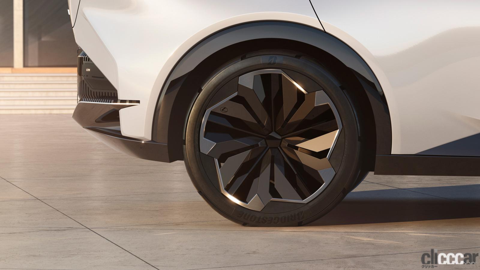 「四輪駆動力制御技術「DIRECT4」などによる自在な「LF-Z Electrified」の走りを支えるブリヂストンのコンセプトタイヤ」の1枚目の画像