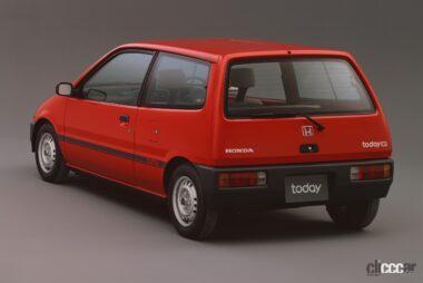 1985年発売のトゥデイの後ろ外観、ボンネットバンらしく後席はヘッドレストなく、簡易な可倒式