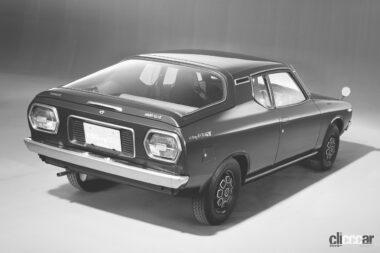 1974年発売の2代目チェリークーペの後ろ外観、個性的なロングテールだが、初代よりはソフト