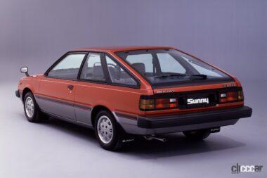 1981年発売の5代目サニーの後ろ外観、直線基調のシャープなハッチバック