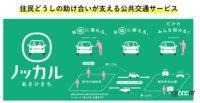 「ノッカルあさひまち」富山県朝日町で地方都市が抱える少子高齢化と公共交通機関縮小の問題へ解決策、マイカー乗り合い公共交通サービスを運用開始 - nokkaru logo