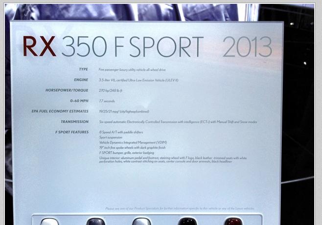 レクサスRX350Fスポーツに8AT採用  the New York Auto Show
